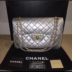 Chanel quilted classic flap jumbo matte silver